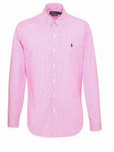 polo ralph cotton gingham slim fit shirt in pink