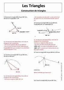 Angle Magique Outil De Construction : construction de triangles exercices corrig s 5 me ~ Dailycaller-alerts.com Idées de Décoration
