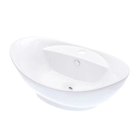 kingston brass oval vitreous china vessel sink in white