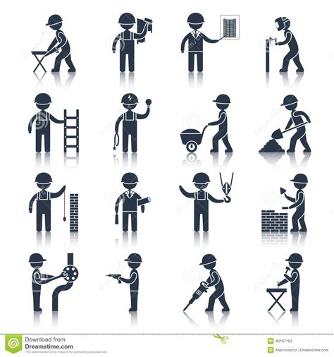 clipart muratore construction worker icons black stock vector image 45107163
