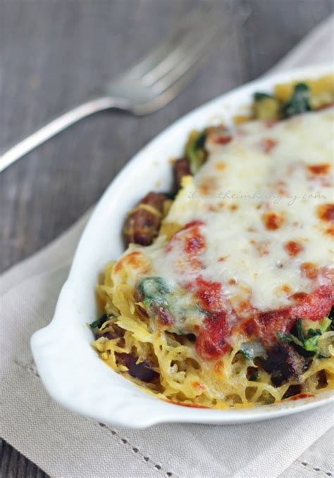 Sausage, Spinach & Spaghetti Squash Bake  Low Carb