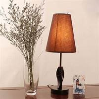nice minimalist bedside lamp Minimalist Wooden Table Lamp Brown Fabric Shade Bedroom Bedside Light - US$25.39 sold out