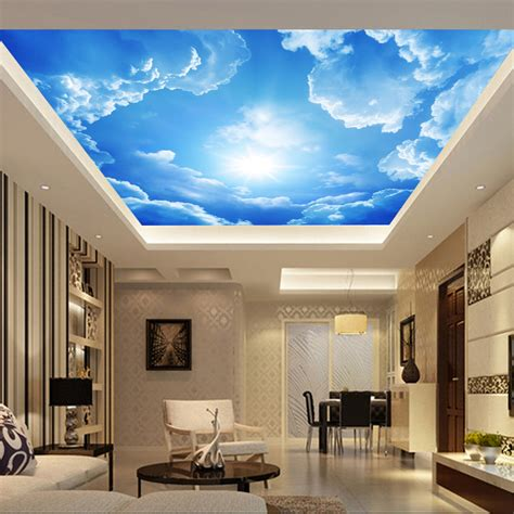 living room bedroom ceiling blue sky  white clouds