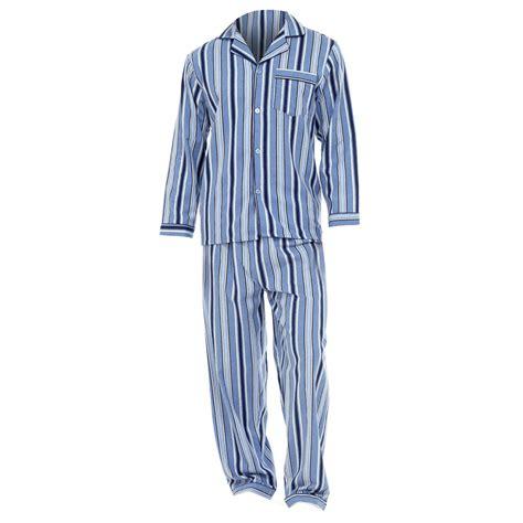 P114 Stripe Pajamas Set mens striped 100 cotton flannel sleeved shirt