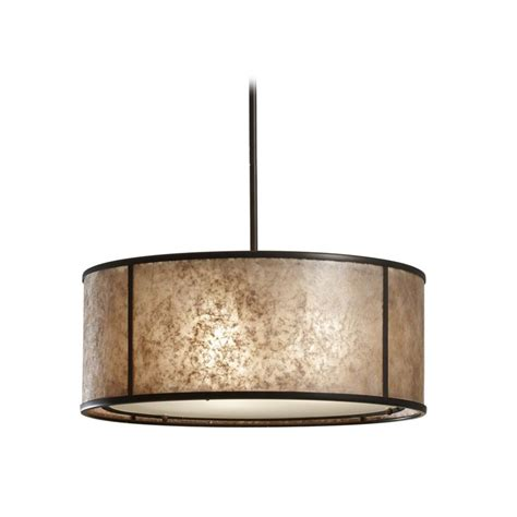 drum pendant light with beige mica shade in