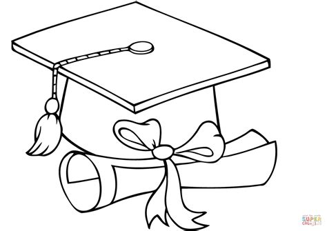 graduate cap with diploma coloring page free printable coloring pages