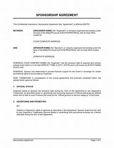 Sponsorship agreement template sample form biztreecom for Professional organizer contract template