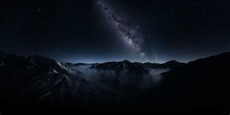 nature landscape mountain starry night milky