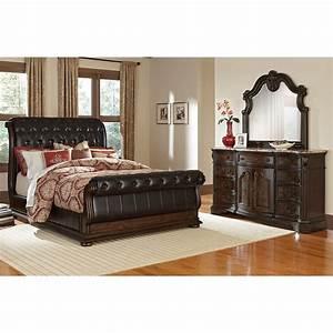 Monticello 5 piece king sleigh bedroom set pecan for American signature bedroom sets