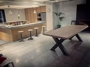 Table En Acier : table bois m tal pied croix scandinave pied en acier ~ Teatrodelosmanantiales.com Idées de Décoration