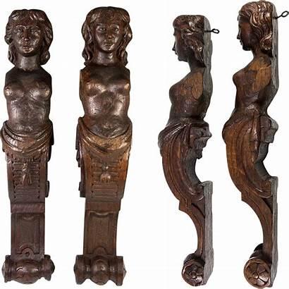 Carved Wood Antique Figures Caryatid Antiques Pair