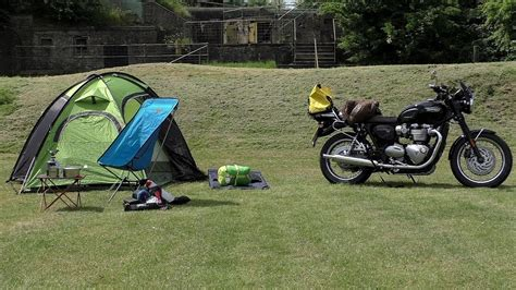 Triumph T120, One Bag Camping! Motorcycle Camping Gear