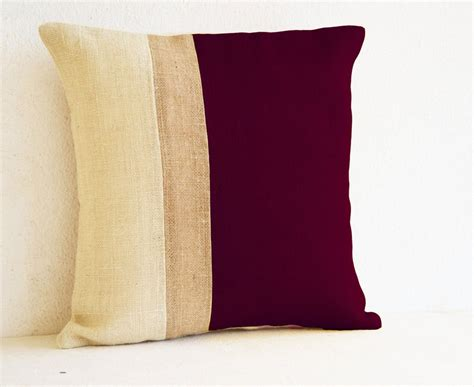 Burgundy Cover by Burgundy Pillow Burlap Color Block Maroon Ivory Decorative
