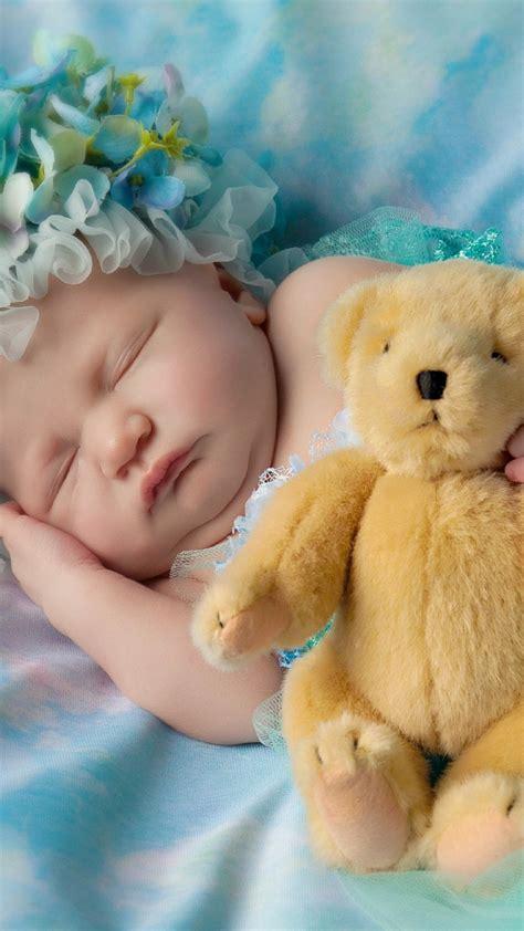 wallpaper cute baby sleeping teddy bear cute