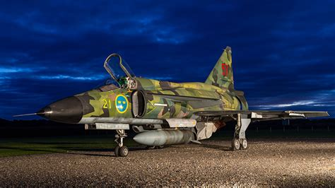 image fighter aircraft airplane saab jas  gripen night time