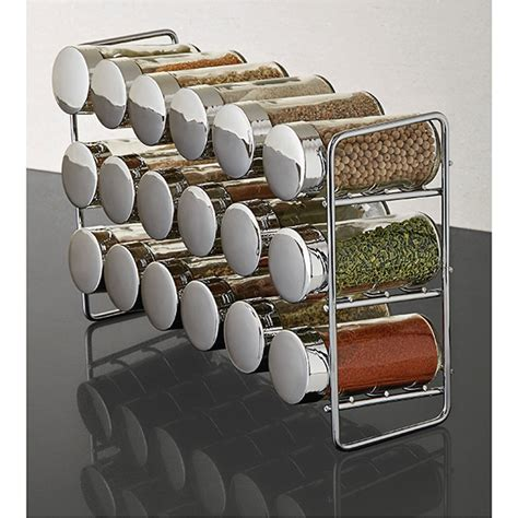 Spice Rack Spices Included by Polder Chrome 18 Bottle Spice Rack The Container Store