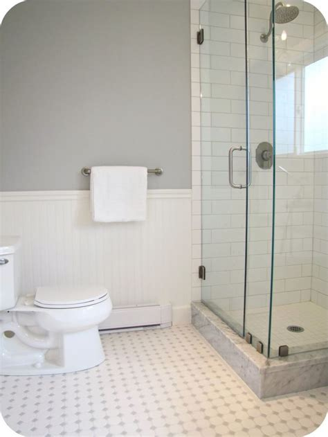 Floor And Wall Bathroom Tiles by Beadboard Subway Tile Black And White Floor Tile And
