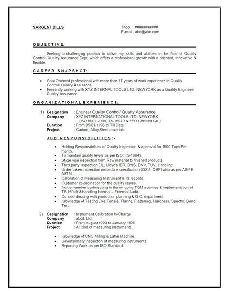 resume format   year experienced mechanical engineer