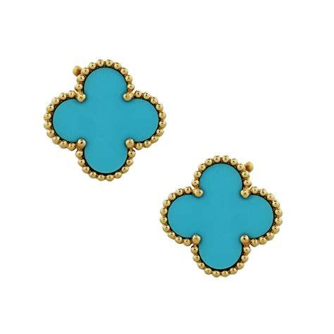 van cleef arpels vintage alhambra turquoise earrings