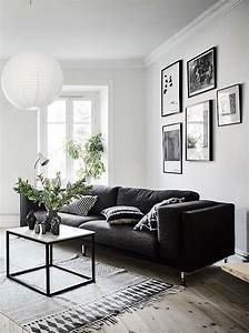 Living room in black white and gray with nice gallery for White walls black furniture living room