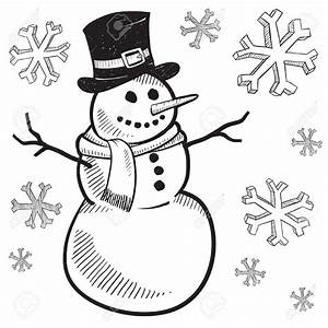 Drawing clipart snowman - Pencil and in color drawing ...