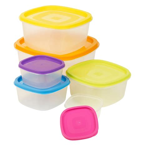 6 X Clear Plastic Food Storage Box Containers With Multi