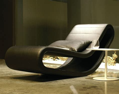 Bt Design Daydream Chaise Lounge In Black Leather Decor