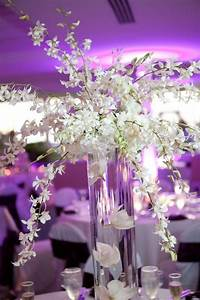 Tall centerpiece, Dendrobium orchids and White hydrangeas ...