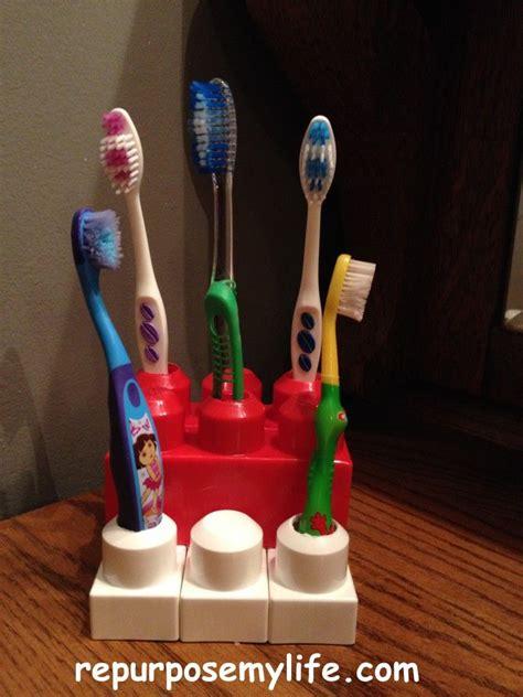 mega block tooth brush holder genuis stack em hot glue
