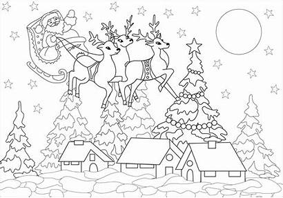 Coloring Santa Village Adults Claus Colorare Disegni