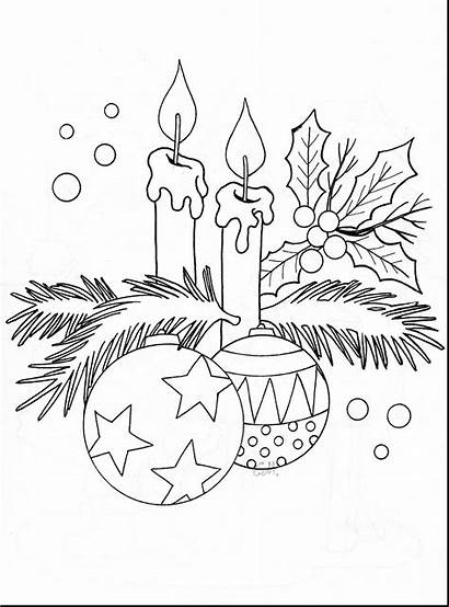 Christmas Candle Coloring Pages Candles Drawing Draw