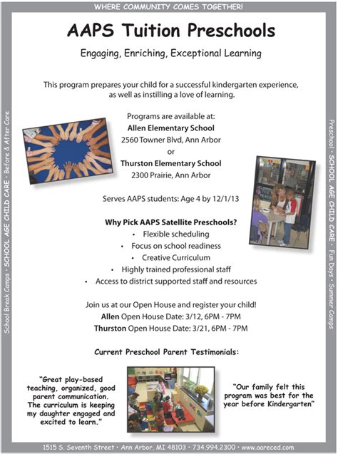 aaps tuition preschool open houses coming up in march 970 | TuitionPreschools Open House Flyer