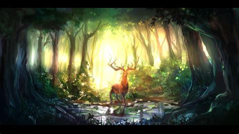 nature animals forest digital art deer wallpapers hd
