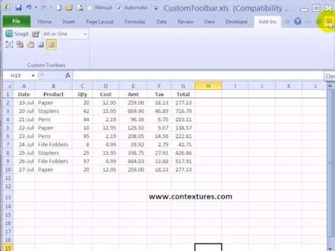 remove custom toolbar from add ins tab in excel 2007 youtube