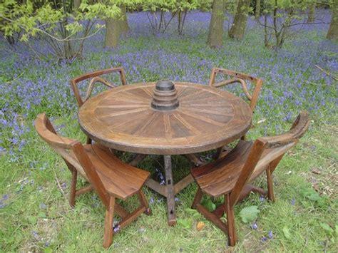 reclaimed teak wheel set rustic outdoor dining