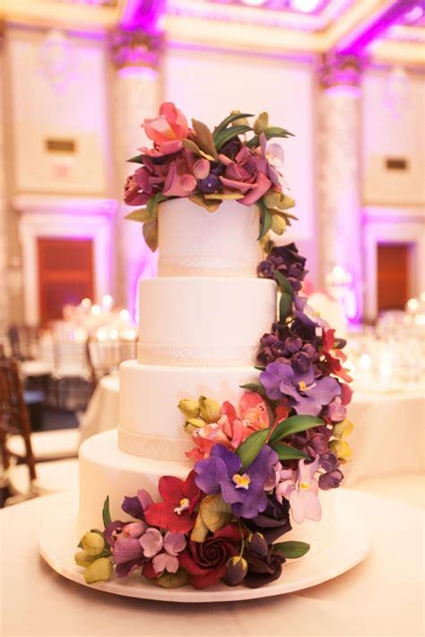 Colorful Purple Flower Wedding Cake Elizabeth Anne