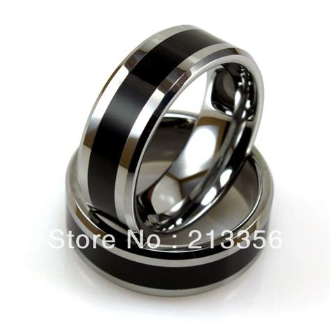 cheap price free shipping usa selling 8mm beveled silver tungsten ring with black resin