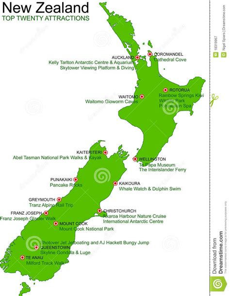 New Zealand Green Vector Map  Top 20 Attractions Stock