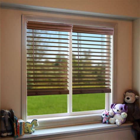 perfect lift window treatment dark oak   cordless faux