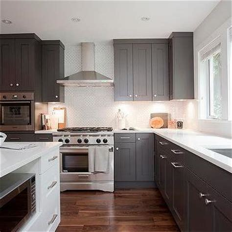 dark grey shaker cabinets small kitchen appliances garage with tiled backsplash