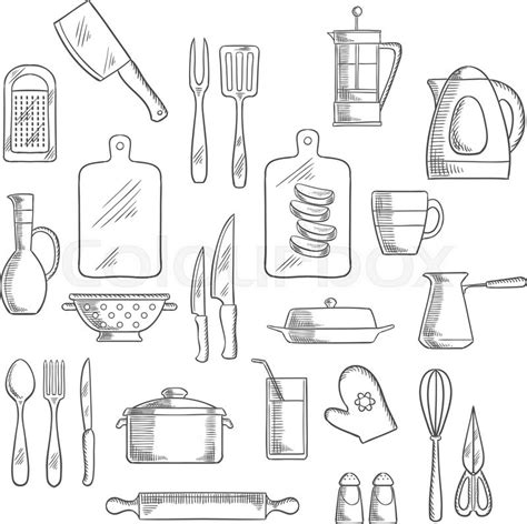 Kitchen Utensils And Appliances Sketch Icons Of Tea And