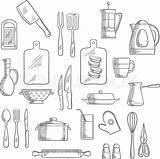 Kitchen Utensils Appliances Sketches Vector Drawing Sketch Cooking Equipment Cup Coffee Pots Spoon Glass Cutting Icons Forks Knives Colourbox Appliance sketch template