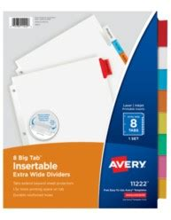 avery big tab template avery big tab insertable wide dividers