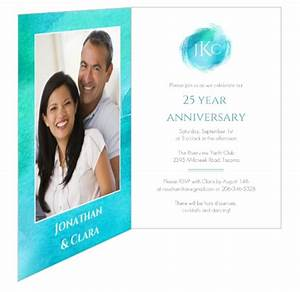 teal watercolor 25 year wedding anniversary party With 25 year wedding anniversary invitations