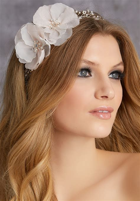Floral Headpiece with Pearl and Rhinestone Hair Vine ...
