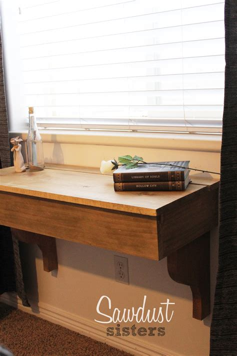 diy floating deskvanity  storage sawdust sisters