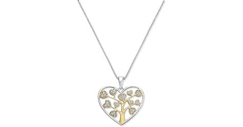 Macy's Diamond Heart Tree Of Life Pendant Necklace (1/5 Ct. T.w.) In 14k Gold Vermeil In Online Jewelry Website Templates Gold Hyderabad Display Value Wire India Websites In Zara Market