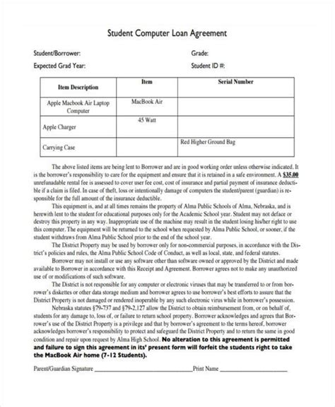 student loan agreement forms   ms word
