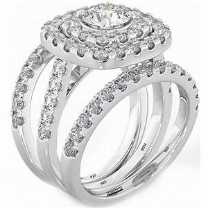 925 silver ladies 3 piece wedding engagement round cut With double rings wedding set