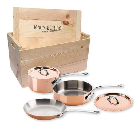 mauviel   france mheritage ms wc copper piece cookware set  wooden cratecast